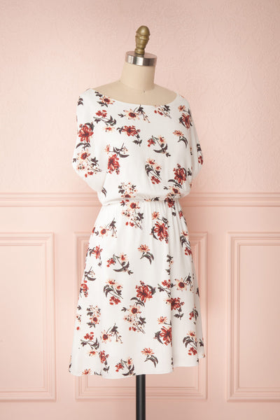 Mannon White Floral Round Collar Short Dress | Boutique 1861 side view