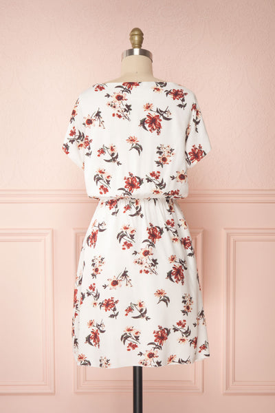 Mannon White Floral Round Collar Short Dress | Boutique 1861 back view