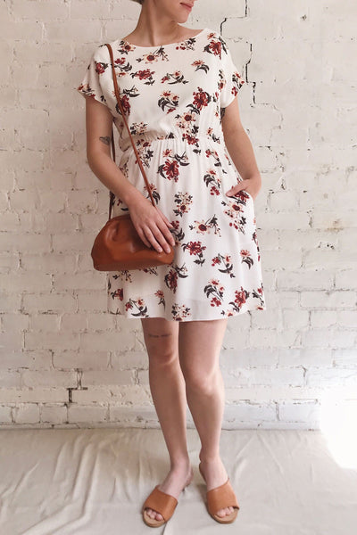 Mannon White Floral Round Collar Short Dress | Boutique 1861 model look