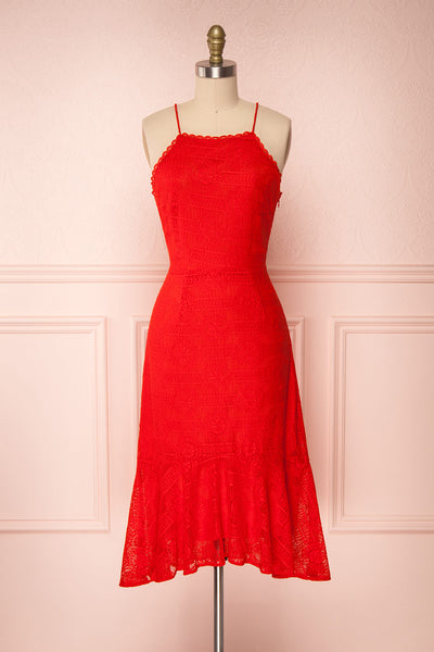 Margita Red Hatler Summer Midi Dress | Boutique 1861 front view
