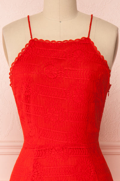 Margita Red Hatler Summer Midi Dress | Boutique 1861 front close-up