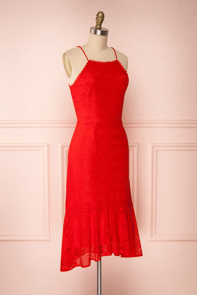 Margita Red Hatler Summer Midi Dress | Boutique 1861 side view