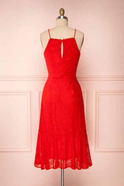 Margita Red Hatler Summer Midi Dress | Boutique 1861 back view