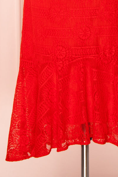 Margita Red Hatler Summer Midi Dress | Boutique 1861 bottom close-up
