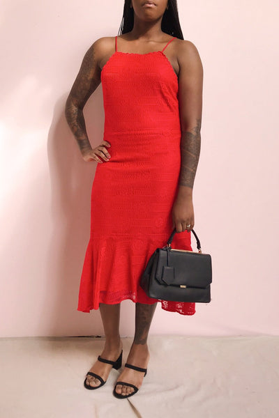 Margita Red Hatler Summer Midi Dress | Boutique 1861 model look 2