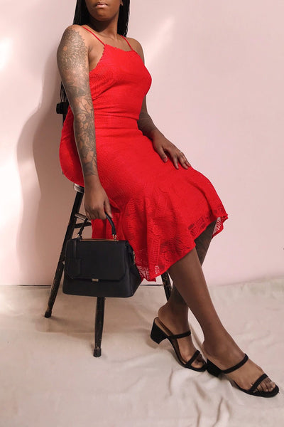 Margita Red Hatler Summer Midi Dress | Boutique 1861 model look 1