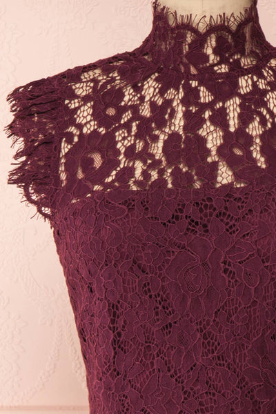 Margot Burgundy Short Lace Dress | Boutique 1861 front close-up