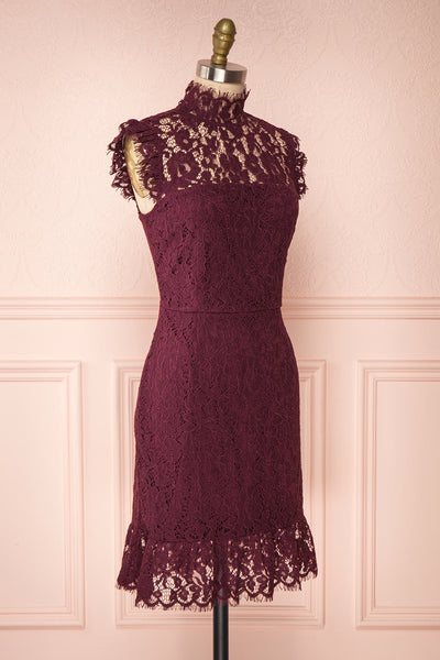 Margot Burgundy Short Lace Dress | Boutique 1861 side view