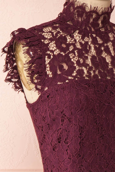 Margot Burgundy Short Lace Dress | Boutique 1861 side close-up
