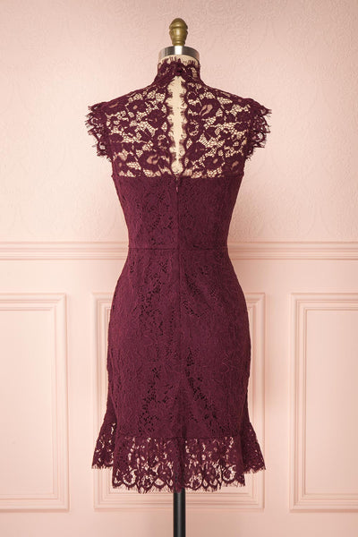 Margot Burgundy Short Lace Dress | Boutique 1861 back view