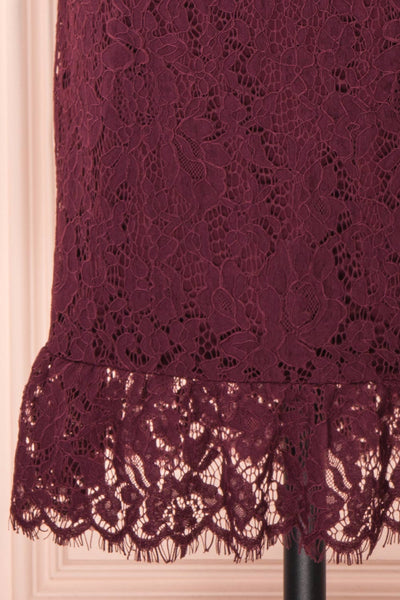 Margot Burgundy Short Lace Dress | Boutique 1861 bottom