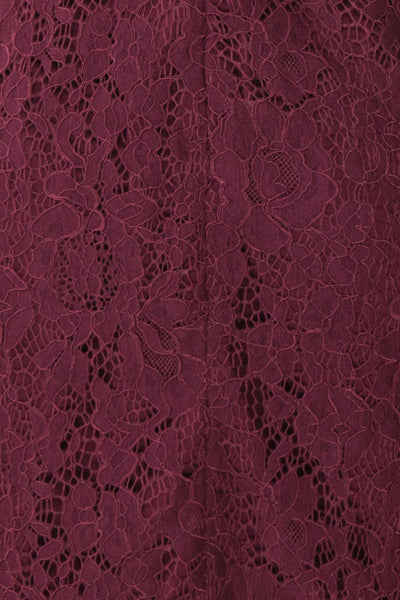 Margot Burgundy Short Lace Dress | Boutique 1861 fabric