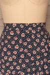 Margotte Navy Blue Short Floral Skirt | La petite garçonne front close up