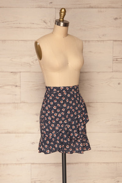 Margotte Navy Blue Short Floral Skirt | La petite garçonne side view