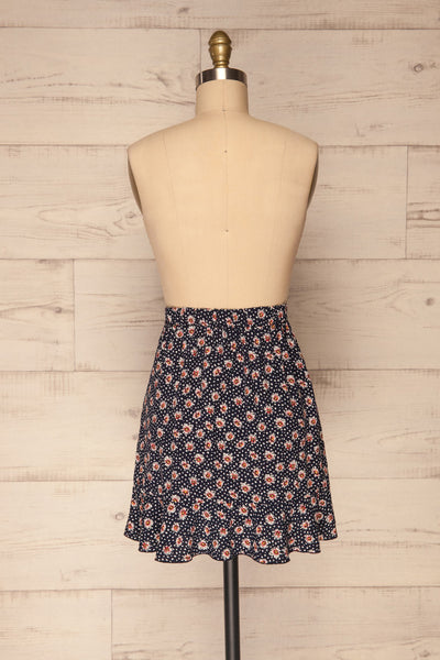 Margotte Navy Blue Short Floral Skirt | La petite garçonne back view
