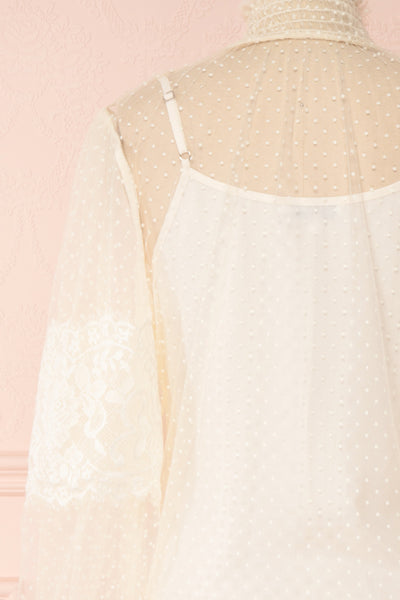 Mariasole Cream See-Through Top w/ Cami | Boutique 1861 back close-up