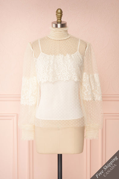 Mariasole Cream See-Through Top w/ Cami | Boutique 1861 front view