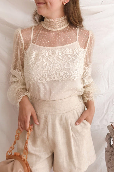 Mariasole Cream See-Through Top w/ Cami | Boutique 1861 on model