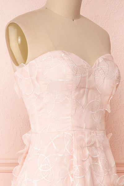 Marichka Pink Floral A-Line Bustier Gown | Boutique 1861 side close-up