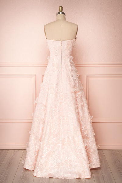 Marichka Pink Floral A-Line Bustier Gown | Boutique 1861 back view
