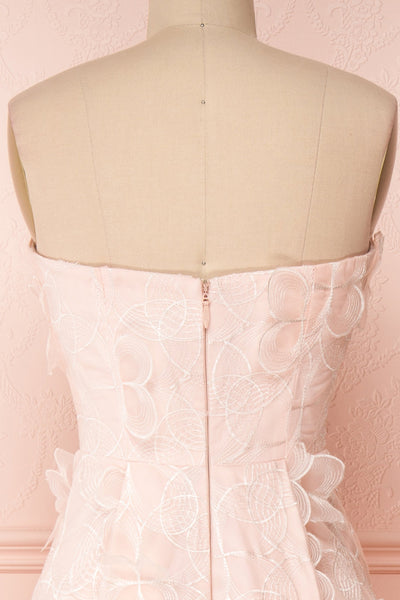 Marichka Pink Floral A-Line Bustier Gown | Boutique 1861 back close-up