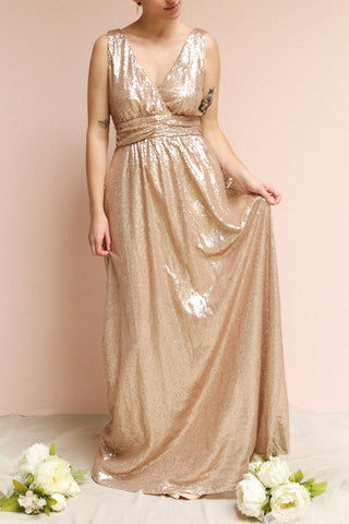 Marie-France Rose Gold Sequined Empire Waist Gown | Boutique 1861 on model
