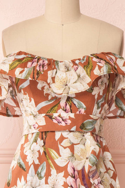 Marietta Floral Off-Shoulder Short Dress | Boutique 1861 front close-up