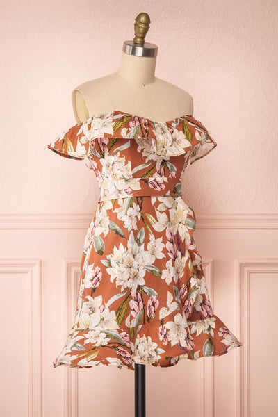 Marietta Floral Off-Shoulder Short Dress | Boutique 1861 side view