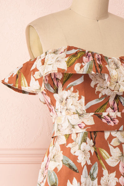 Marietta Floral Off-Shoulder Short Dress | Boutique 1861 side close-up