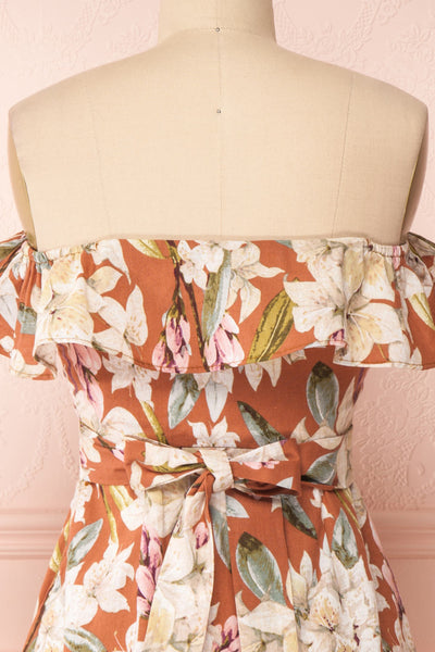 Marietta Floral Off-Shoulder Short Dress | Boutique 1861 back close-up