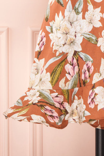 Marietta Floral Off-Shoulder Short Dress | Boutique 1861 bottom close-up