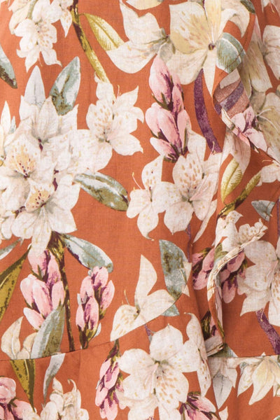 Marietta Floral Off-Shoulder Short Dress | Boutique 1861 fabric details