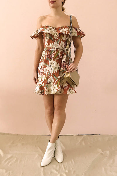 Marietta Floral Off-Shoulder Short Dress | Boutique 1861 model look 1