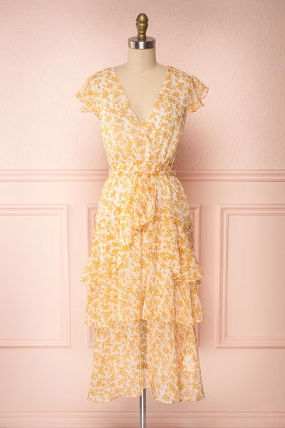 Marike Orange Floral Chiffon Midi Dress | Boutique 1861