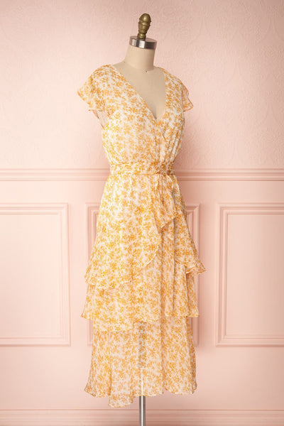 Marike Orange Floral Chiffon Midi Dress side view | Boutique 1861