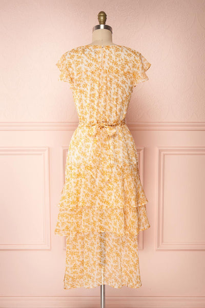 Marike Orange Floral Chiffon Midi Dress back view | Boutique 1861