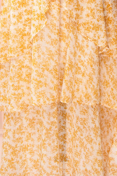 Marike Orange Floral Chiffon Midi Dress fabric | Boutique 1861