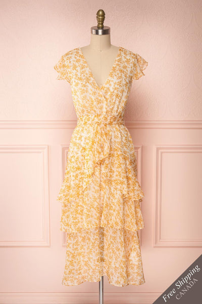 Marike Orange Floral Chiffon Midi Dress front view FS | Boutique 1861