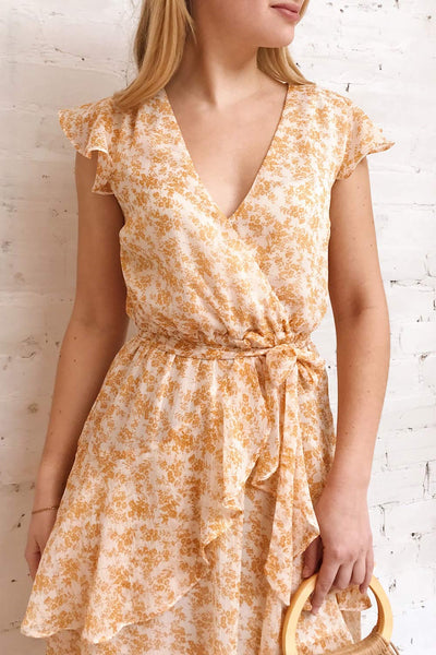 Marike Orange Floral Chiffon Midi Dress | Boutique 1861 model close up
