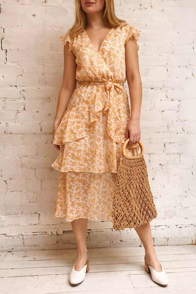 Marike Orange Floral Chiffon Midi Dress | Boutique 1861 model look