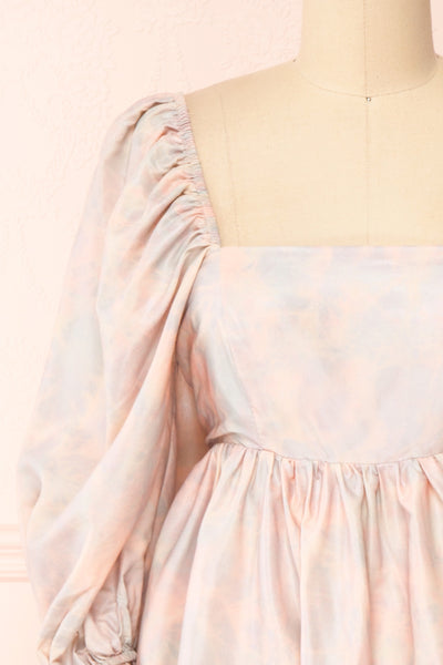 Marinna Pastel Puffy Long Sleeve Midi Dress | Boutique 1861 front close-up