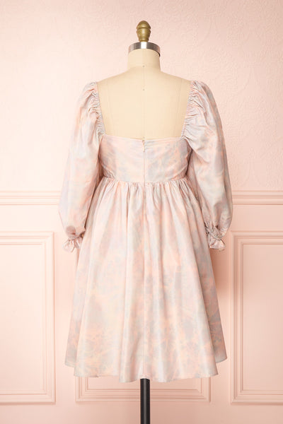 Marinna Pastel Puffy Long Sleeve Midi Dress | Boutique 1861 back view