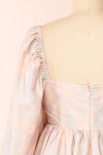 Marinna Pastel Puffy Long Sleeve Midi Dress | Boutique 1861 back close-up