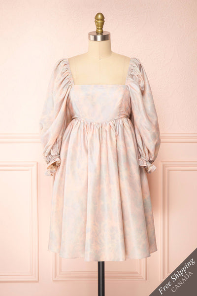 Marinna Pastel Puffy Long Sleeve Midi Dress | Boutique 1861 front view