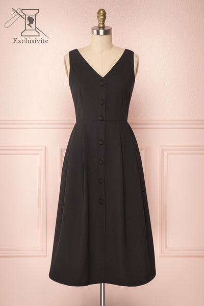 Mariska Black Button-Up A-Line Dress | Boutique 1861