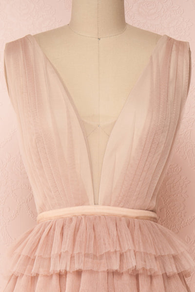 Marisol Blush Mesh Gown w/ Layered Ruffle Skirt  | FRONT CLOSE UP | Boutique 1861