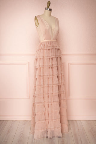 Marisol Blush Mesh Gown w/ Layered Ruffle Skirt | SIDE VIEW | Boutique 1861