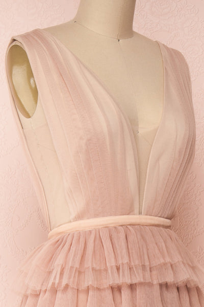 Marisol Blush Mesh Gown w/ Layered Ruffle Skirt | SIDE CLOSE UP | Boutique 1861