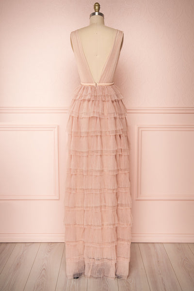 Marisol Blush Mesh Gown w/ Layered Ruffle Skirt | BACK VIEW | Boutique 1861