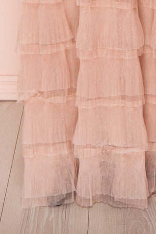 Marisol Blush Mesh Gown w/ Layered Ruffle Skirt | BOTTOM CLOSE UP | Boutique 1861